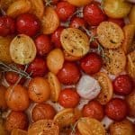 end of summer slow roasted tomatoes with garlic and thyme