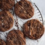 double chocolate chip cookies on a baking rack